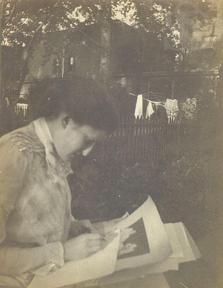 Lilian Westcott Hale sketching, 1902