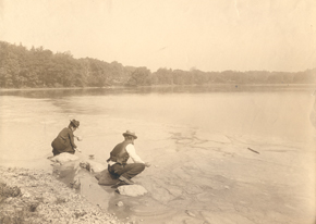 Ellen Swallow Richards gathering the scum on Jamaca Pond, Boston, Ma., 1901