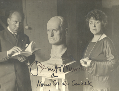 Nancy Cox-McCormack Cushman working on a bust of Benito Mussolini, 1923