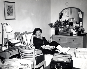 Florence Rose working at home while
