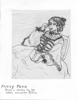 Pen and ink drawing of Fanny Fern (Sara Willis Parton)by her daughter, Ellen Eldredge Parton, n.d.