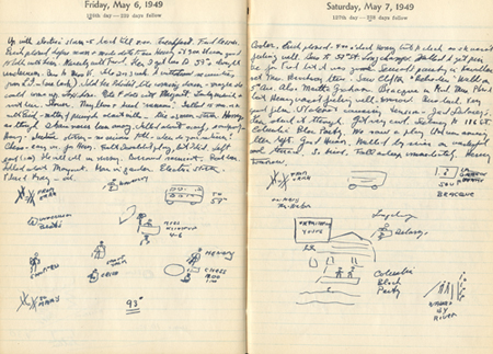 Pages from Patricia Beck's diary, 6-7 May, 1949