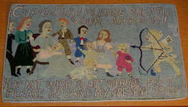 Hooked rug with birth control message, n.d.View larger image