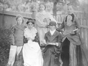 """The Quier Kyds"" in their play based on Lucretia Hale's Peterkin Papers, June 1899. Left to right:  Meril Bevin, Avis Danforth as Mrs. Peterkin, Eleanor Upton as Agamennon, Ernest Bevan as Mr. Peterkin, and Margaret Upton as Solomon."