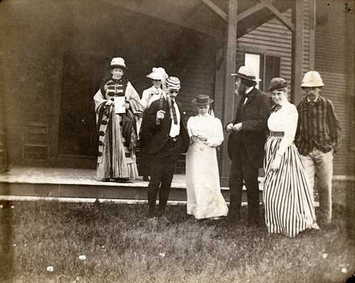 Hale Family group at Matunuck, 1890s [left to right: Emily (Perkins) Hale, Ellen Day Hale?,?, ?, Edward Everett Hale, Camilla (Conner) Hale?, Herbert Dudley Hale]