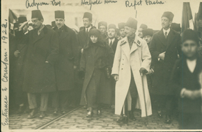 Officials entering Constantinople, 1922. Individuals identified, from left:  Adnem Bey, Halide Hanoum, Refet Pasha