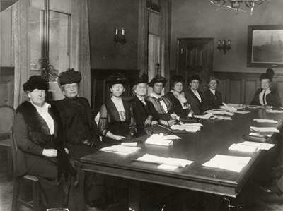 YWCA National Board meeting with Grace Dodge at  head of table, 1912