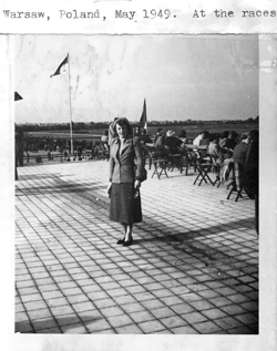 Pauline Frederick at the races,Warsaw, Poland, 1949