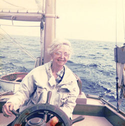 Jessie Lloyd O'Connor piloting Volya, undated