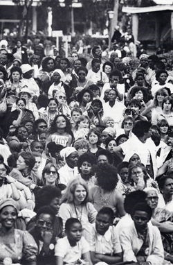 """The Great Court,"" at the opening ceremony of the World Conference on the UN Decade for Women, University of Nairobi, Kenya, 1985. From ""Forum '85 NGO Planning Committee Final Report."""