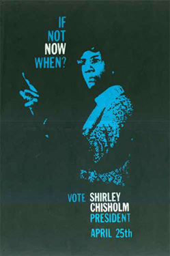 Campaign poster for Massachusetts primary, Shirley Chisholm for President, 1972