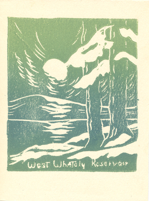 """West Whately Reservoir"" print by Olive Damon, undated"