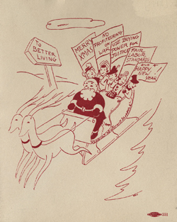 Christmas card sold by the League of Women Shoppers, 1942