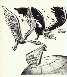 Cartoon published by the Campaign to Check the Population Explosion, circa 1966(