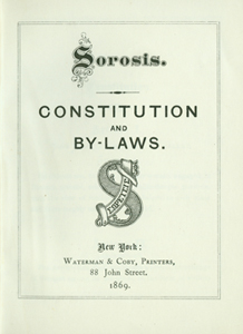 Title page of Constitution and By-Laws of Sorosis, 1869