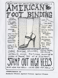 "Flyer ""American Foot Binding - Stamp Out High Heels,"" Rochester Women Against Violence Against Women, n.d."