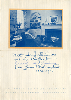 Christmas card showing Harriet Bliss Ford in Wilder House living room, 1931-1932