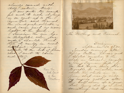 Pages from Clara M. Reed's Dresden travel journal, September 1890