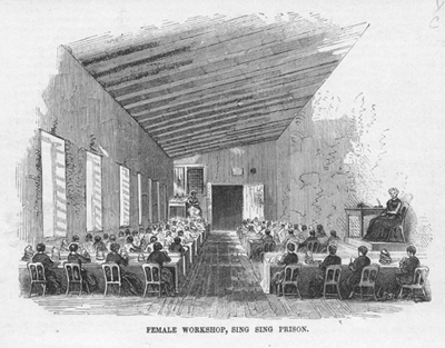 """Female Workshop, Sing Sing Prison,"" from Gleason's Pictoral, Oct. 21, 1854"
