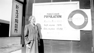 Charlotte B. DeForest at the Manzanar War Relocation Center, California, Dec. 1945