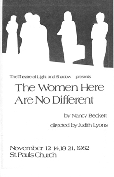 Playbill for The Women Here Are No Different, November 1982