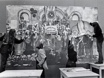 Artwork being put up in the Valley Women's Center, circa 1971