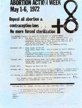 Flyer for Abortion Action Week, May 1972