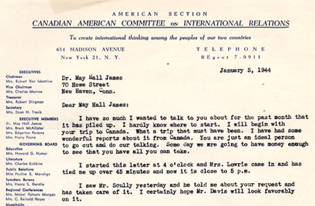 Letter to May Hall James, January 5, 1944