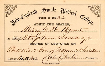 "Mary Hunt's course card for ""Obstetrics & Diseases of Women and Children,"" 1862"