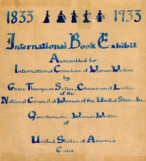 Flyer for the First International Book Exhibit assembled for the International Conclave of Women Writers, 1933