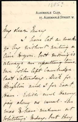 "First page of letter to ""Mary"" written from Albemarle Club, 1885"