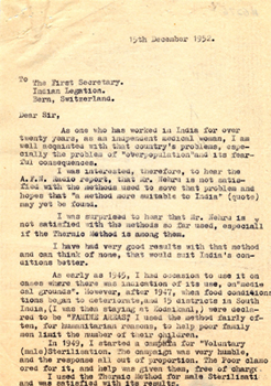 Letter to the First Secretary, Indian Legation, 1952