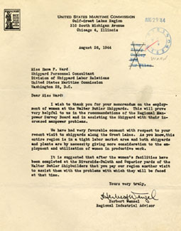 Letter to Emma Ward from Herbert Wenzel, regional Industrial Advisor, August 26, 1944