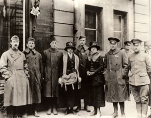 Katharine R. Geddes (center, with knapsack) with escaped American prisoners, undated