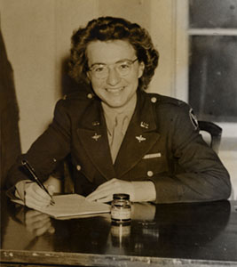 2nd Lt. Margaret P. Breed (Marsh) at the Plattsburgh Barracks, 1945