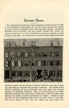 Cover of pamphlet on Denison House settlement, undated