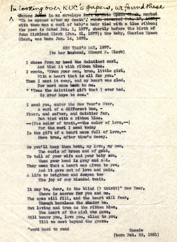 "Poem by Kate Upson Clark for her husband, Edward P. Clark, titled ""New Year's Day, 1877"""