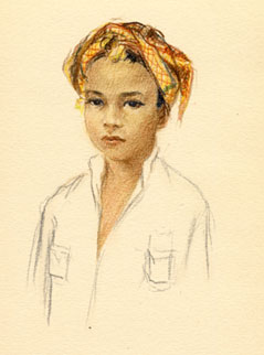"Drawing of ""Balinese little boy"" from travel sketchbook, undated"