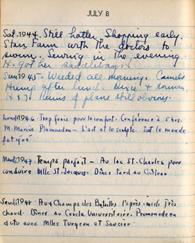 Entry for July 8 of Adams's 5-year diary for 1944-48