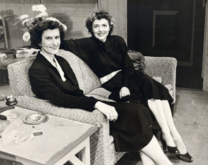 "Helen Bragdon and Caroline Fisher Rathbone on the set of ""Present Laughter,"" Fish Creek, Wis., 1953"