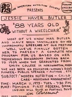 "Lecture Flyer for ""Jessie Haver Butler: '88 Years Old Without A Wheelchair',"" 1975"