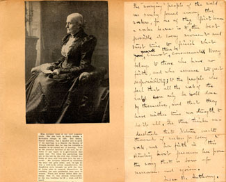 Poster about Susan B. Anthony, with photo and page of writing, undated
