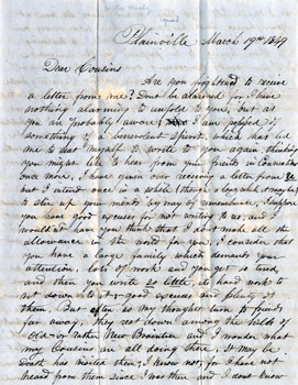 Letter from George Moody to Asel Clark, March 19, 1849