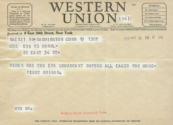 Telegram congratulating Eva Hansel for a broadcast, May 19 1939