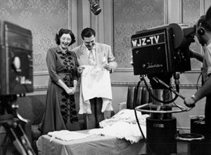 Susan Lyman representing the Museum of the City of New York on a New York City television show, with host Walter Hurlihy, 1950