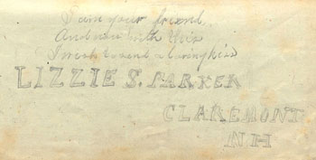 Inside cover of Elizabeth Parker McCollester's diary, 1878
