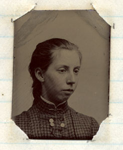 Tintype of Charlotte Norris from her diary, 1886