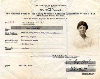Kate Hillis Boyd's certificate of identification issued by the War Work Council of the YWCA, September 18, 1919