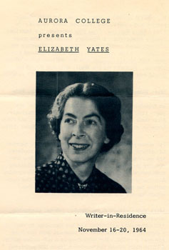 Flyer for Elizabeth Yates' visit as Writer-in-Residence at Aurora College, November 16-20, 1964