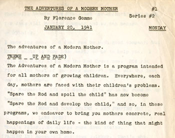 "Portion of script for ""The Adventures of a Modern Mother,"" 1941"